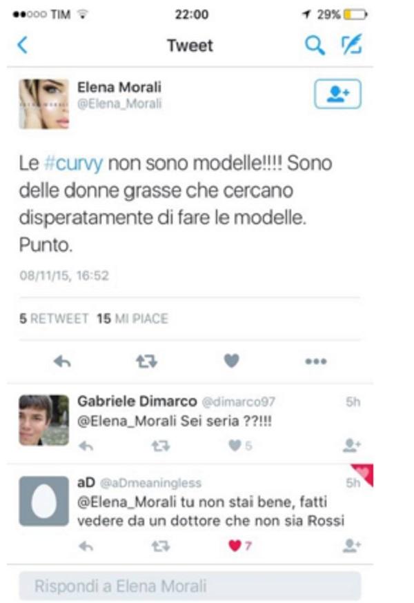 """Elena Morali: """"Le curvy non sono modelle ma solo donne grasse"""""""