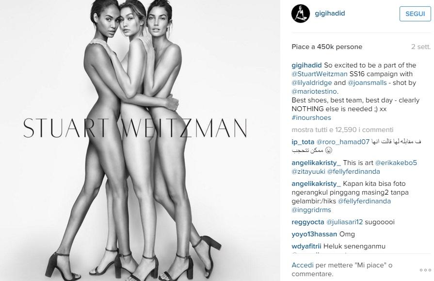 Gigi Hadid e Lily Aldridge senza veli per Stuart Weitzam2