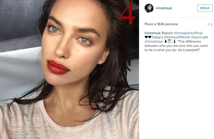 Irina Shayk su Instagram: foto con rossetto rosso fa impazzire fan