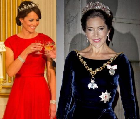 Kate Middleton-Mary di Danimarca con la tiara FOTO