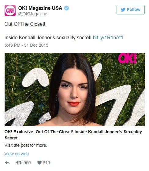 """Kendall Jenner lesbica, presto il coming out"", dice Ok Magazine"
