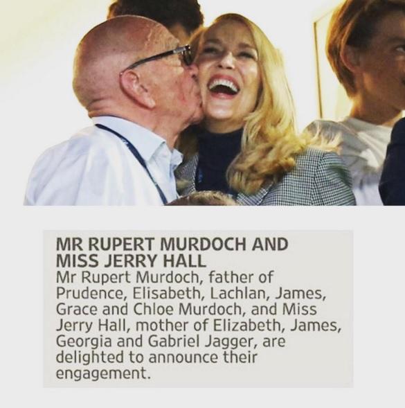 Rupert Murdoch sposa Jerry Hall, ex moglie di Mick Jagger FOTO