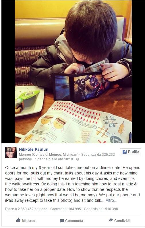 A 6 anni paga conto al ristorante a mamma FOTO: web si scatena
