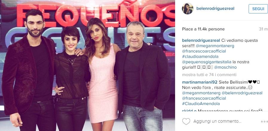 Belen Rodrgiuez, abito rosa corto a Pequeños gigantes FOTO