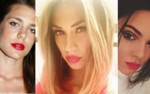 Charlotte Casiraghi, Melissa Satta, Kendall Jenner, passione rossetto rosso