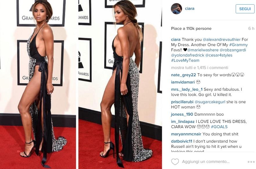 Ciara ai Grammy: spacco vertiginoso e gambe in vista FOTO