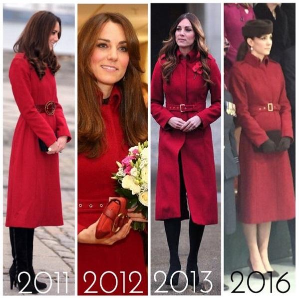 Kate Middleton: cappotto rosso e cappellino... riciclati! FOTO
