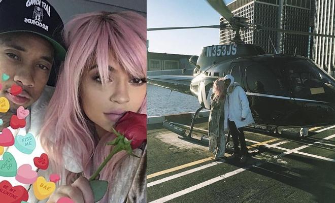 Kylie Jenner, San Valentino da non credere per la modella e per il suo fidanzato Tyge. I due infatti hanno passato la festa degli innamorati in...elicottero