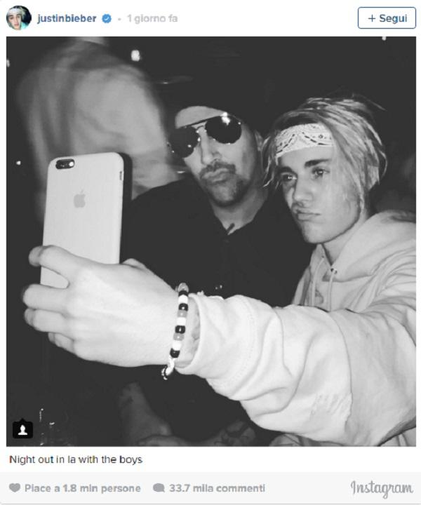 Justin Bieber selfie con Marilyn Manson su Instagram