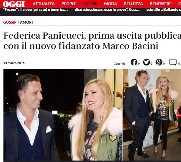 Federica Panicucci e Marco Bacini: prima uscita pubblica