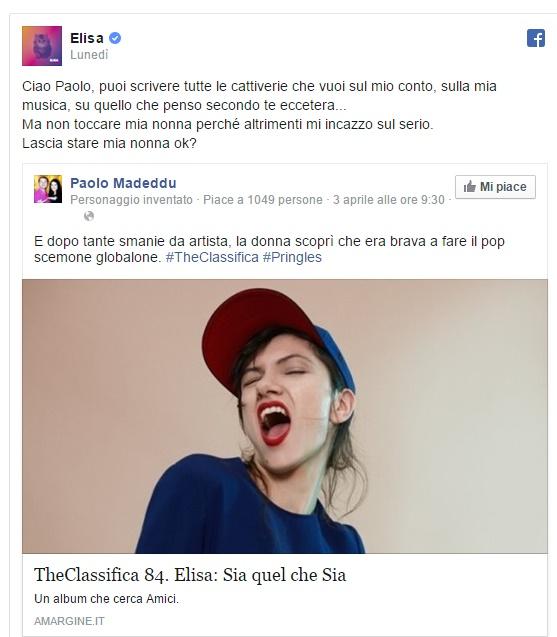 "Elisa Toffoli sbotta su Facebook: ""Non toccate mia nonna!"""