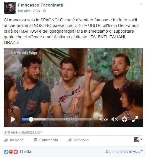 """Francesco Facchinetti contro Jonas Berami: """"Aiutiamo gli italiani"""""""