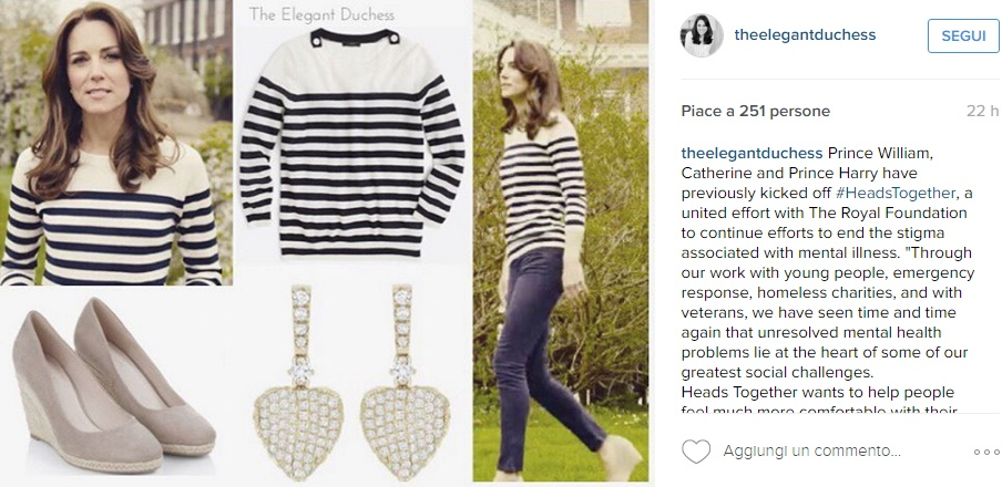 Kate Middleton, look casual: maglioncino a righe e jeans FOTO