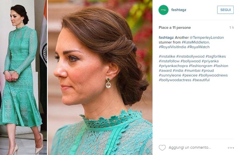 Kate Middleton, pizzo e trasparenze in verde acqua FOTO