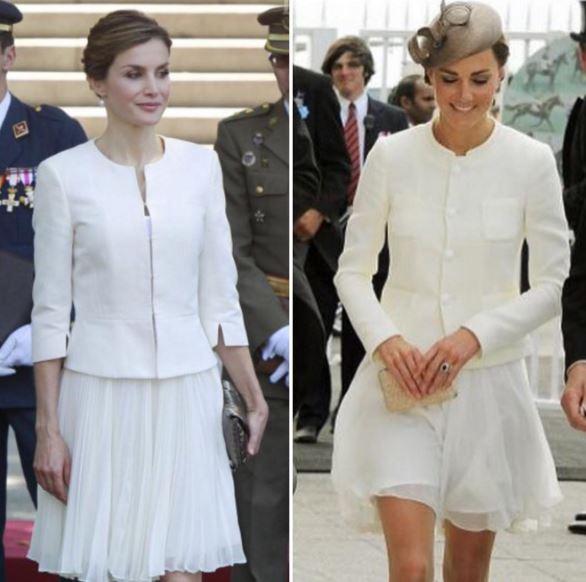 Letizia Ortiz e Kate Middleton total white: look a confronto FOTO
