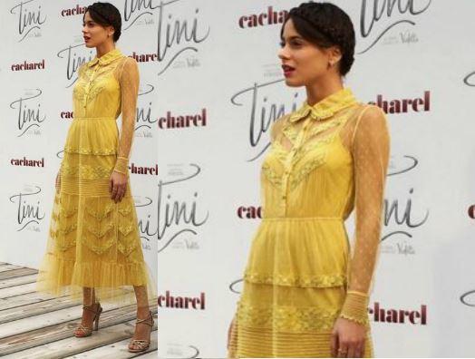 Martina Stoessel (Violetta) vestito giallo a Madrid FOTO