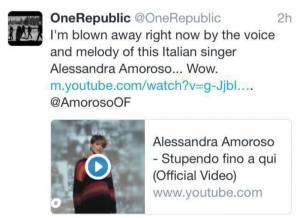 Alessandra Amoroso, tra i suoi fan anche band OneRepublic