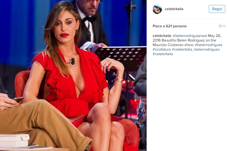 Belen Rodriguez, abito rosso by Philosophy al Maurizio Costanzo