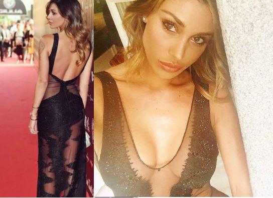 Belen Rodriguez: abito nero scollato alla Bocelli-Zanetti night