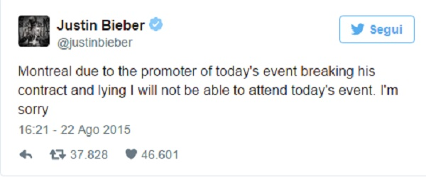 Justin Bieber ancora nei guai: denunciato a causa di un tweet