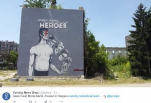 David Bowie, a Sarajevo enorme murales dedicato al cantante