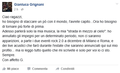 """Gianluca Grignani confessa: """"Annullo tutto"""". Cosa è successo"""