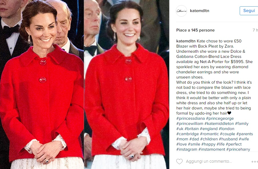 Kate Middleton, cappottino rosso Zara e abito bianco FOTO
