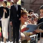 Letizia Ortiz look: mantellina nera e tacchi FOTO