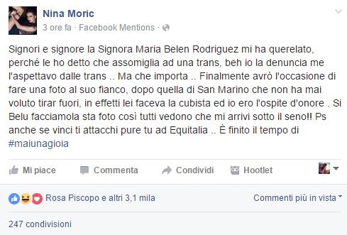 Belen Rodriguez querela Nina Moric perché le ha dato della trans