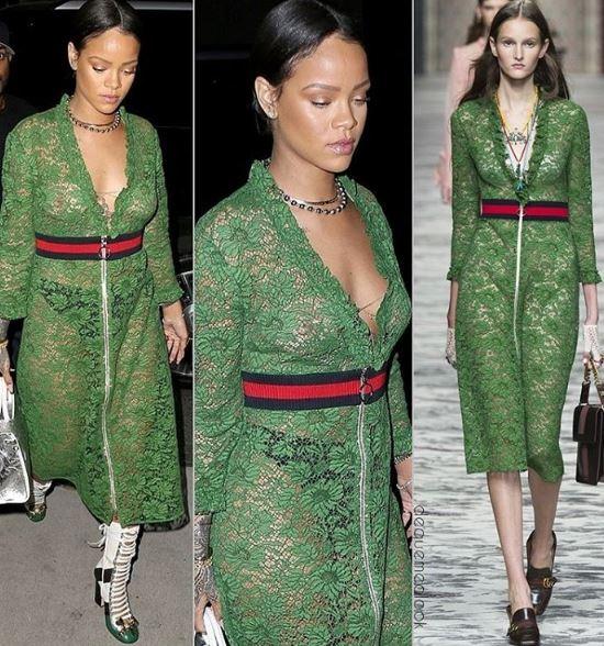 Rihanna, abito trasparente verde firmato Gucci VIDEO FOTO