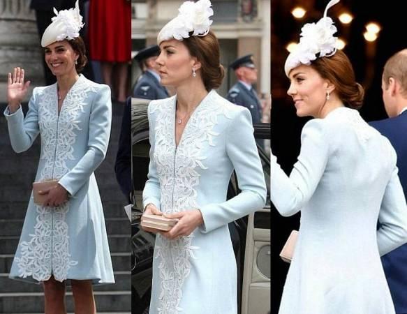 buy popular 99572 aa5a9 FOTO Kate Middleton: abito azzurro pastello e tacchi alti