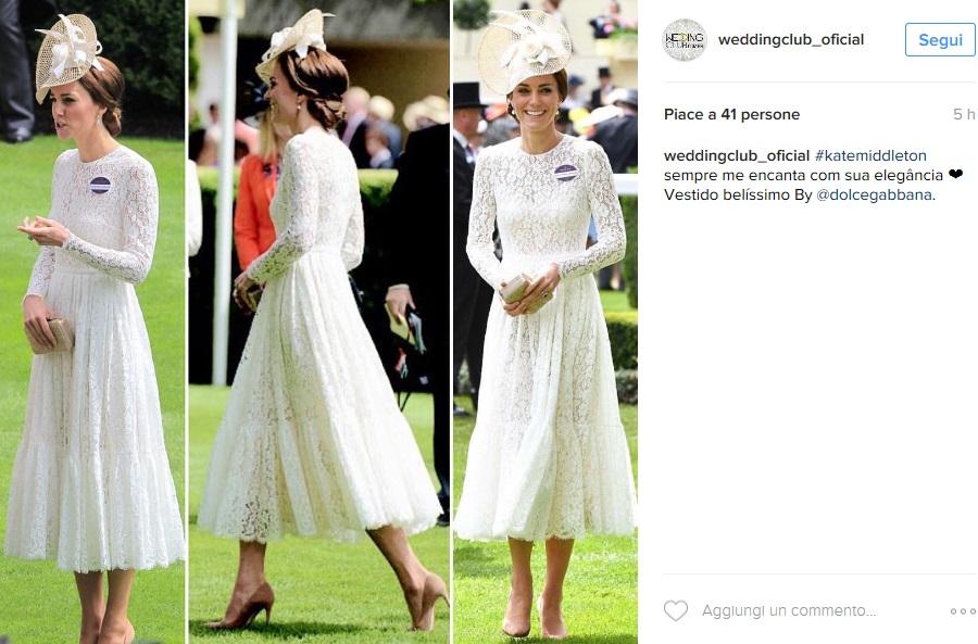 Kate Middleton, abito bianco in pizzo Dolce & Gabbana FOTO