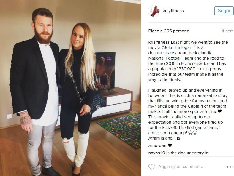Aron Gunnarsson, chi è la fidanzata Kris Jonasdottir FOTO