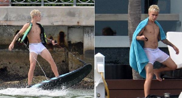 Justin Bieber in mutande, mentre fa... surf FOTO