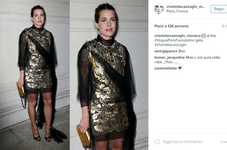 Charlotte Casiraghi perfetta in abito dorato Gucci FOTO
