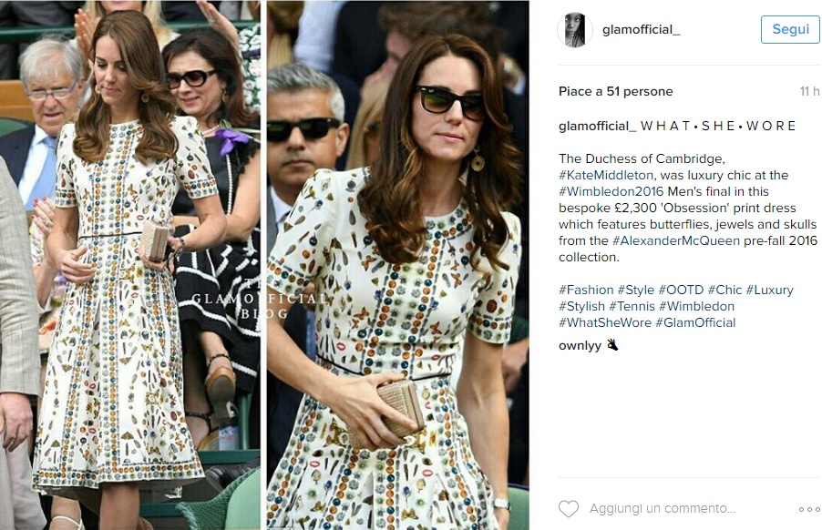 Kate Middleton, abito Alexander McQueen a Wimbledon FOTO