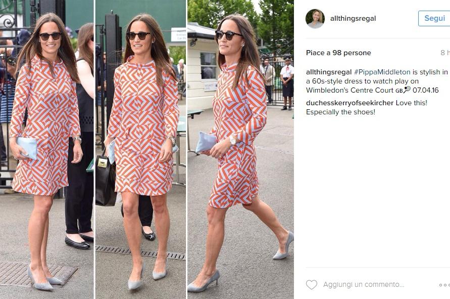 Kate Middleton, sorella Pippa chic in tubino a Wimbledon FOTO