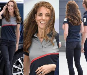 Kate Middleton sporty chic: jeans skinny, polo e zeppe FOTO