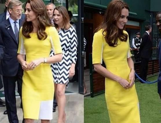 59bad2c18a75 FOTO Kate Middleton vestito giallo a Wimbledon 2016