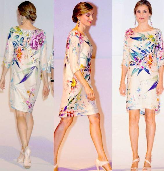 Letizia Ortiz look: abito floreale e chignon a Madrid FOTO