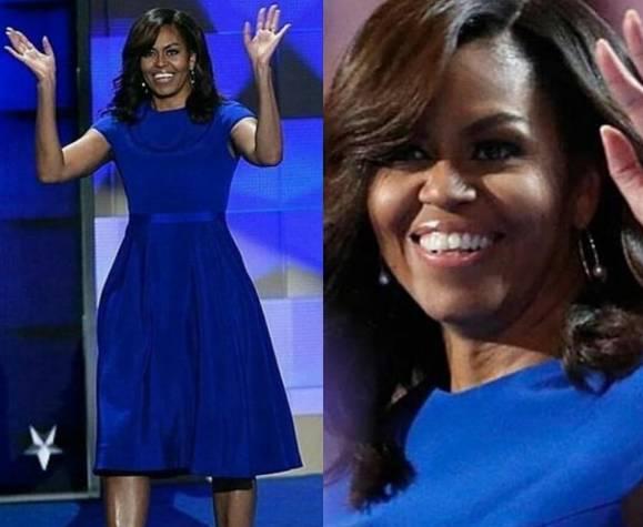 free shipping 4f1c5 4088a FOTO Michelle Obama in abito blu Christian Soriano