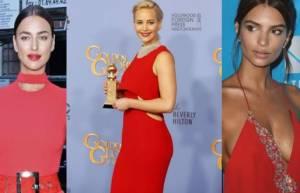 Emily Ratajkowski, Irina Shayk, Jennifer Lawrence: dive in rosso
