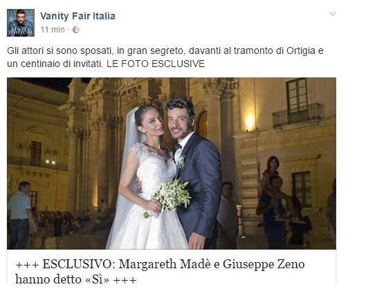 Giuseppe Zeno e Margareth Madè sposi a Siracusa!