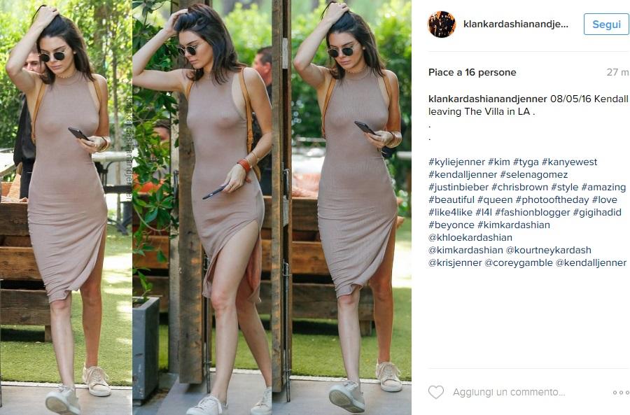 Kendall Jenner scandalosa: vestito aderente e trasparente FOTO