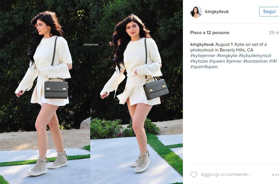 Kylie Jenner, curve al top con abito corto e sneakers FOTO