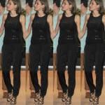 Letizia Ortiz chic in vacanza: completo nero aderente e tacchi
