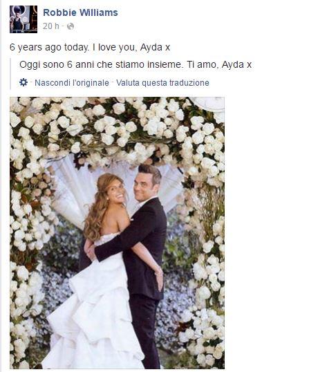 Robbie Williams, dedica d'amore alla moglie Ayda