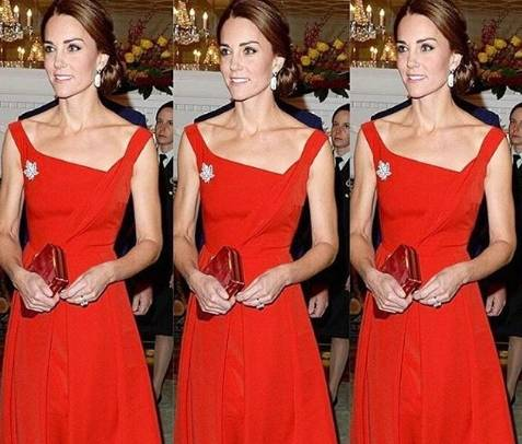 Abito Cerimonia Kate Middleton.Foto Kate Middleton Abito Rosso Fuoco E Tacchi In Canada