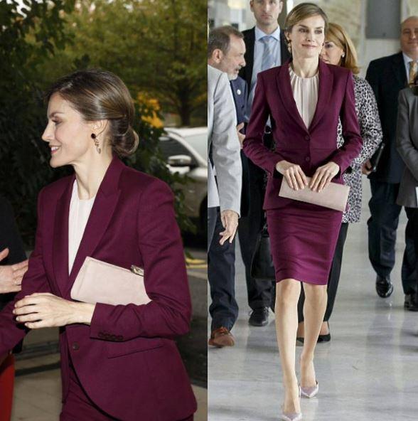 Letizia Ortiz elegante con il tailleur bordò FOTO