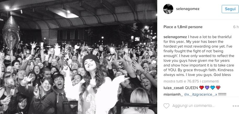 Selena Gomez, la FOTO e poi la dichiarazione che spiazza